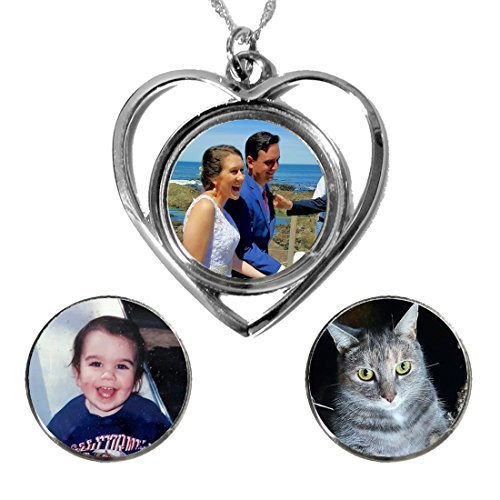 Photo Heart Necklace - Three Changeable Custom Pendants
