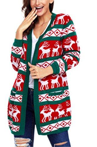 Otoño Sueltas E Yogly Invierno B Las Mujer Mujeres Cardigan De Punto  Chaqueta Suéter Impresión Navidad 76wP8r7q 510de03b17f4
