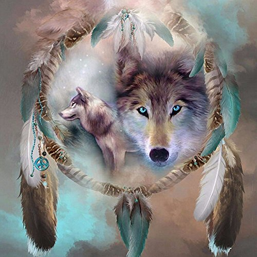 MXJSUA 5D Diamond Painting by Number Kit DIY Full Round Drill Dreamcatcher Wolf Cross Stitch Embroidery Rhinestone Picture Craft Arts for Home Wall Decor 14x14in