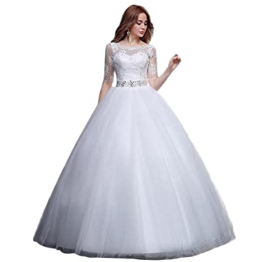 JJ-GOGO Women White Bride Lace Round Neck Short Sleeve Ball Gown ...