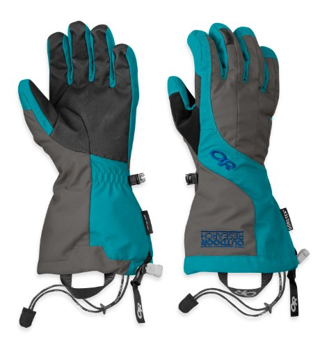 (Outdoor Research Women's Arete Gloves, Charcoal/Alpine Lake, Small)