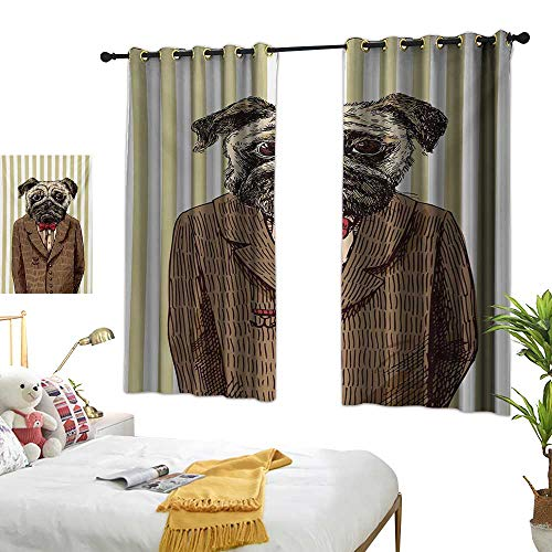 S Brave Sky Pug Thermal Insulating Blackout Curtain Hand Drawn Sketch of Smart Dressed Dog Jacket Shirt Bow Suit Striped Background W55 x L63,Suitable for Bedroom Living Room Study, etc.