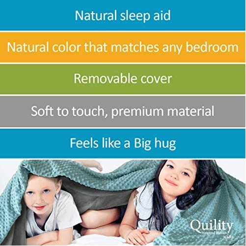 """Quility Premium Kids Weighted Blanket & Removable Cover - 5 lbs - 36""""x48"""" - for a Child Between 40-70 lbs - Single Size Bed - Premium Glass Beads - Cotton/Minky - Grey/Aqua Color 6"""