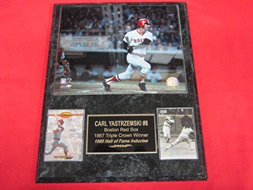 (Carl Yastrzemski Red Sox 2 Card Collector Plaque #5 w/ 8x10 Color Photo)