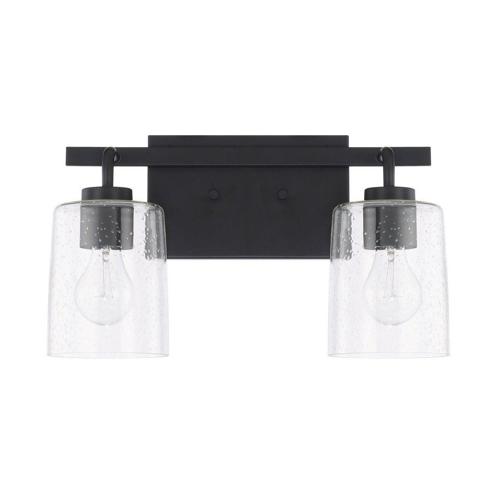 Capital Lighting 128521MB-449 Homeplace Greyson – Two Light Bath Vanity, Matte Black Finish with Clear Seeded Glass
