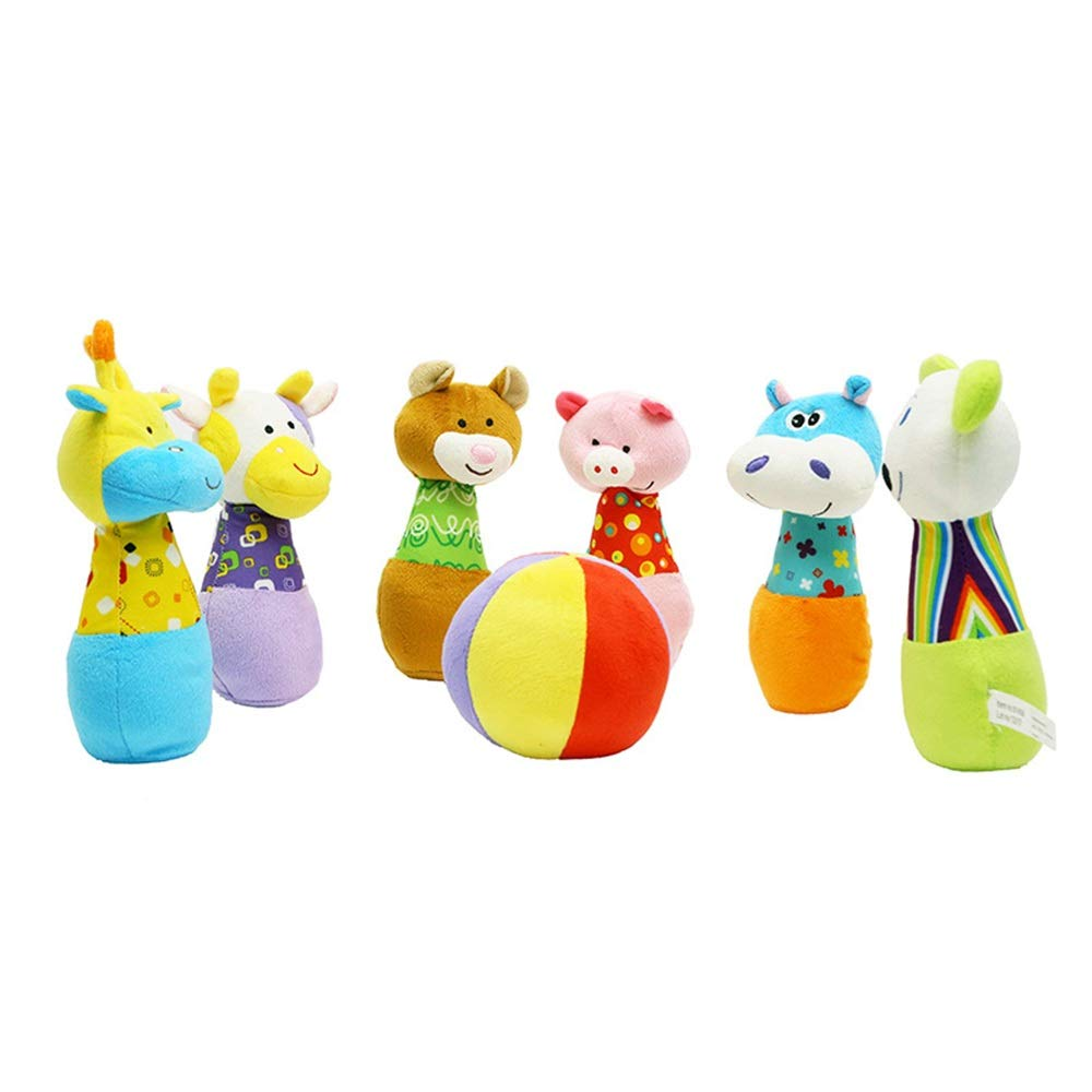 KMCMYBANG Bowling Toy Bowling Game Cotton 6-Pin Bowling Game with Carrying Case Friends Preschool Play Set Children's Bowling Toys Kids Bowling Toys (Color, Size : 2020cm) by KMCMYBANG