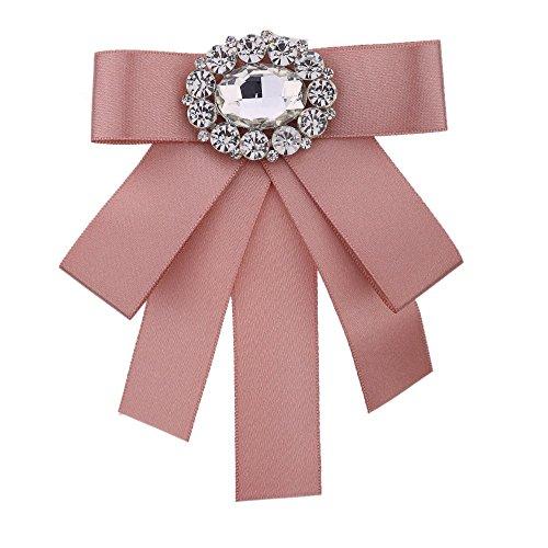 Pink Ribbon Brooch - Wcysin Rhinestone Pre-Tied Ribbon Bow Tie for Women, Trendy Brooch Pin Collar Jewelry (Pink)
