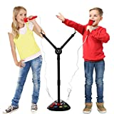 Kids Double Karaoke Mic with Music Singalong and Disco Lights, Connects to Ipods, Smartphones & MP3 Players