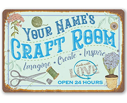 """Personalized Craft Room - Durable Metal Sign - 8"""" x 12"""" or 12"""" x 18"""" Use Indoor/Outdoor - Makes a Great Apparel/Accessories Manufacturer Office Decor/Sewing Factory Decor from Personalized Signs by Lone Star Art"""