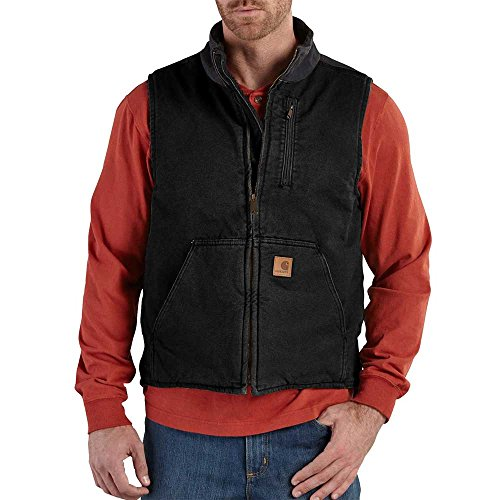 Carhartt Men's Mock Neck Vest Sherpa Lined Sandstone V33, Black, Medium