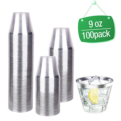 100 Count 9oz Disposable Clear Cup-Silver Trim Cup/Old Fashioned Tumblers/Plastic Wedding Cups/Fancy Party Cups