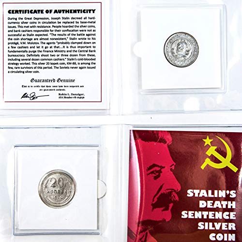 STALIN'S DEATH SENTENCE - Russian Silver Coin in Mini Album with Certificate of Authenticity - RUSSIA 20 Kopek ()