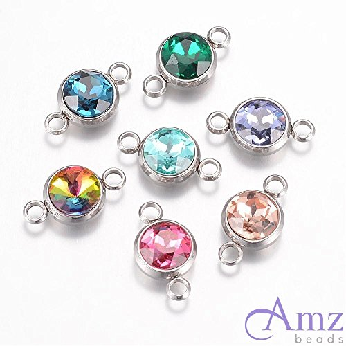- AMZ Beads - Assorted Crystal Glass Jewelry Making Bracelet Necklace Connectors Links - 10 pcs (Stainless Steel)