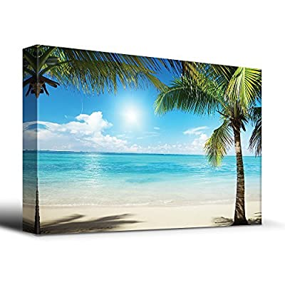 Tropical Blue Waters Framed by Palms - Canvas Art Home Art - 12x18 inches