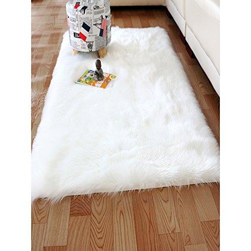 YOH Modern Imitation Sheepskin Plush Carpets Fluffy Shaggy Area Rugs for Bedroom Living Room Kids Room Home Decor Super Soft Mat 2ft x 3ft (2 x 3 Feet White) by YOH
