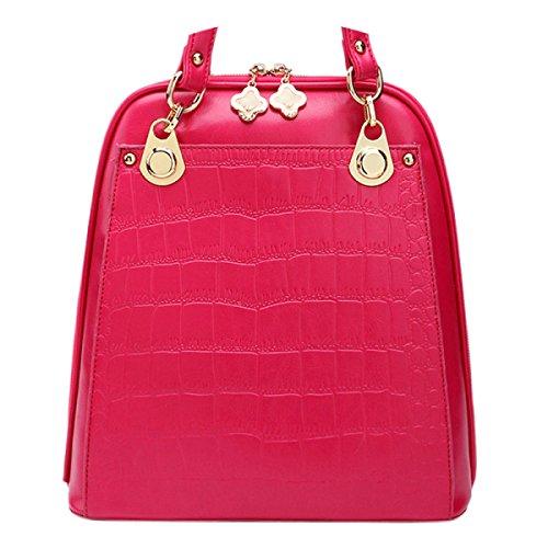 Mujer Nuevo Estilo Ocio Grabación En Relieve Moda Bandolera Bolsa De Cruz Oblicua Multifunción Mochila Gran Capacidad Color Sólido Bolso Pink