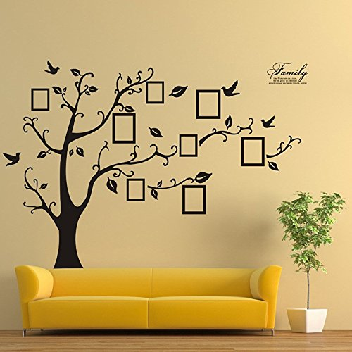 Black 3D DIY Photo Tree PVC Wall Decals Adhesive Family Wall Stickers Mural Art Home Decor