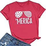 FAYALEQ 'Merica American Flag Sunglasses T-Shirt Women's Short Sleeve Tee Casual Blouse Size M (As Show)