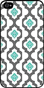 Grey Lattice and Blue Damask Pattern- Hard Black Plastic Snap - On Case-Apple Iphone 4 - 4s - Great Quality!