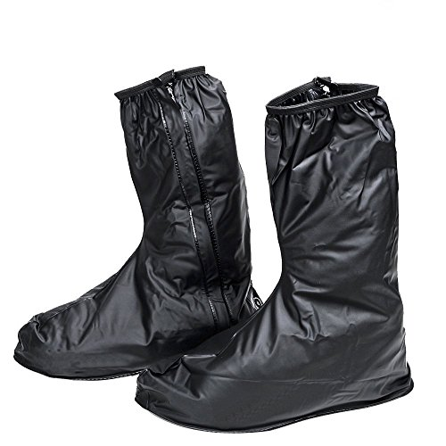 Men's Waterproof Non Slip Motorcycle Cycling Boot Shoes Covers with Side Zipper for Rain Rainstorm Snow Day Bike Rider Biker (1 Pair, Black, Euro 46-47/US 12-13 ) by JJLHIF