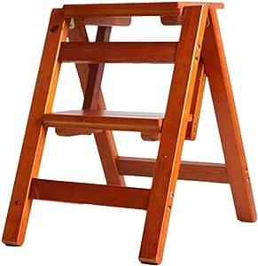Maybesky-hm Escalera de Mano Portátil Plegable 2/3 Paso de Madera General Perfil Silla Multifuncional Escalera Plegable Escalera Ideal for Inicio Library para el hogar/Cocina/Garaje: Amazon.es: Hogar