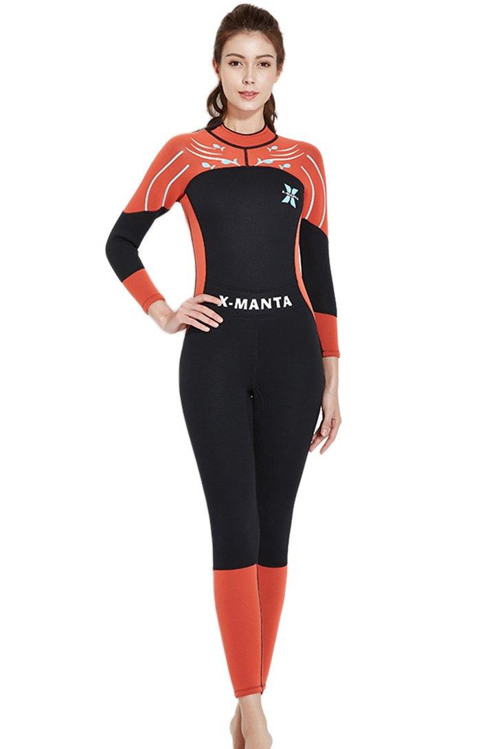 aca09b55373a75 Micosuza Damen Neoprenanzug Lang 3MM Full Longsuit Surfanzug UV  Sonnenschutz Schnorchelanzug mit Rückenreißverschluss Tauchanzug Micosuza.