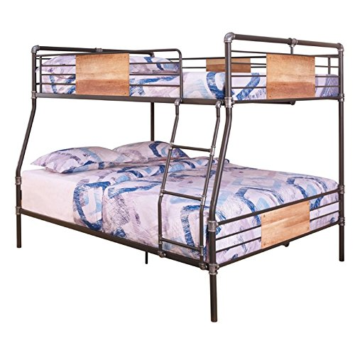 BOWERY HILL Full XL Over Queen Metal Bunk Bed in Sandy Black