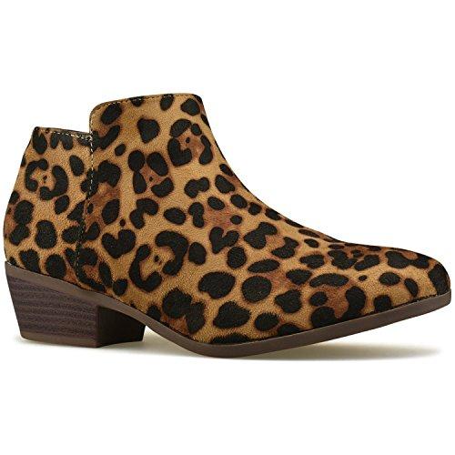 Premier Standard Women's Round Toe Faux Suede Stacked Heel Western Ankle Bootie Leopard B*