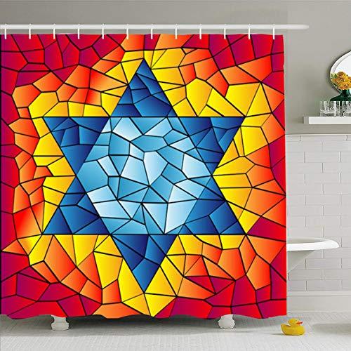 (Ahawoso Shower Curtain 72x72 Inches Israel Blue David Six Pointed Star Mosaic Vivid Bright Jewish Kippur Yom Glass Design Waterproof Polyester Fabric Set with Hooks)