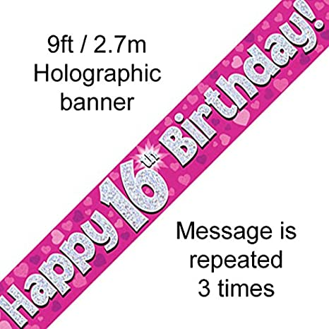 Unique Party UK Pink Glitz 16th Birthday Flag Banner 12 ft 55291