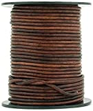 Brown Distressed Round Leather Cord 1.5mm 100 Meters (109 Yards)