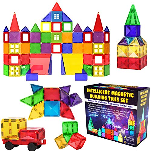 Desire Deluxe Magnetic Tiles Blocks Building Set for Kids - Learning Educational Toys for Boys Girls for Age 3 - 8 Year-Old - Birthday Present Gift (57PC)
