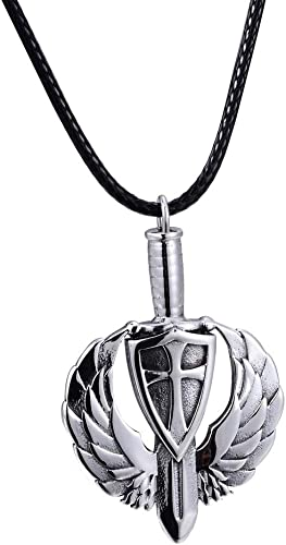 Silver Black Sword Gothic Stainless Steel Pendant Black Leather Necklace
