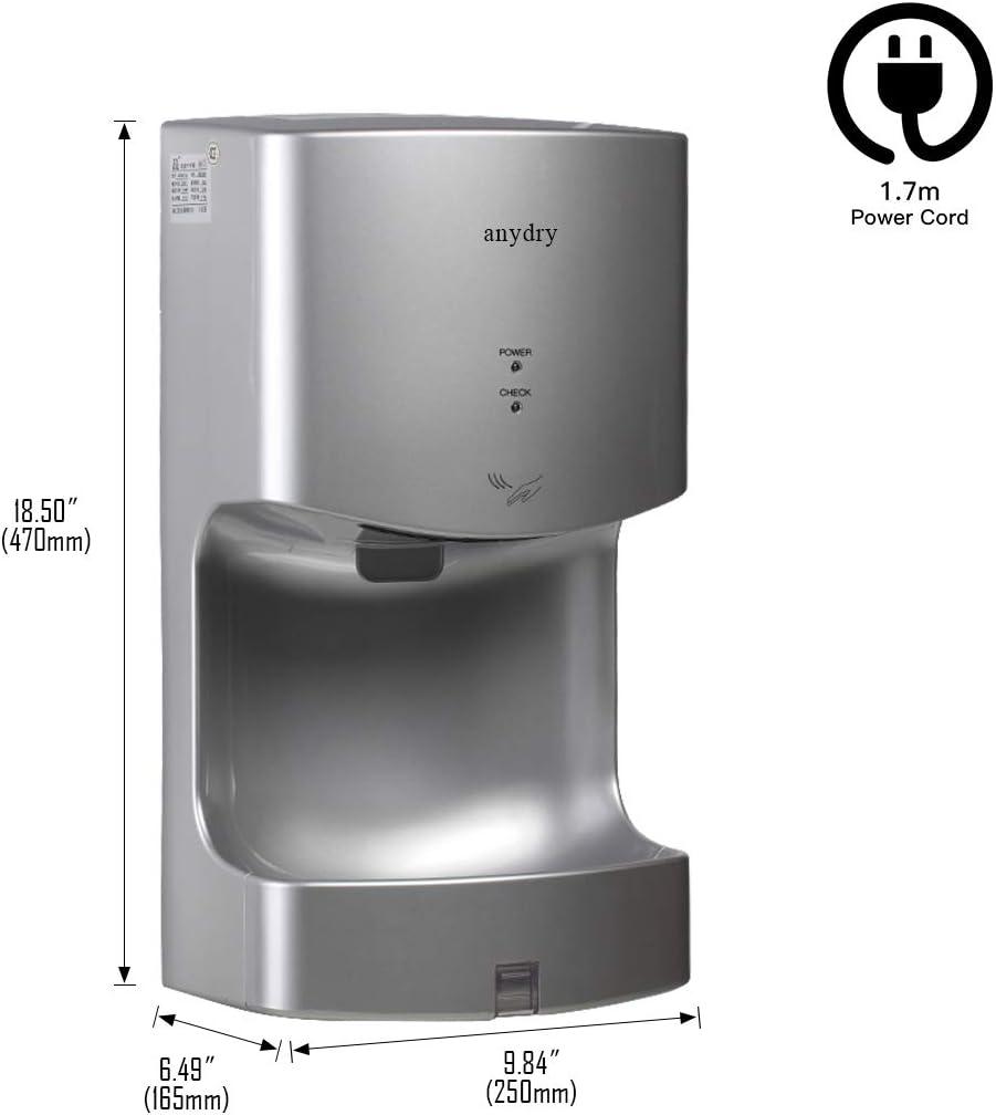 anydry AD2630T Wand-H/ändetrockner mit Ablaufwanne,gewerblich,ABS-Abdeckung,1400W,Silber