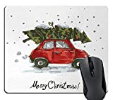 Wknoon Christmas Mouse Pad, Red Retro Style Car Xmas Tree Vintage Family Style Illustration Snowy Winter Art, Rectangle Non-Slip Rubber Mousepad, Red Green