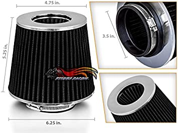 """BLACK 3.5/"""" Inches 89mm Inlet Cold Air Intake Cone TRUCK FILTER For Pontiac"""