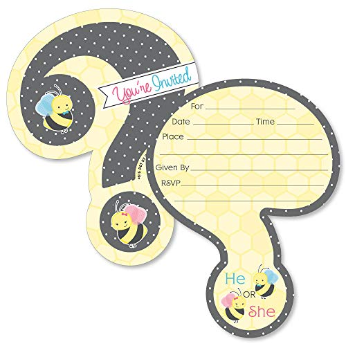 What Will It Bee - Shaped Fill-In Invitations - Gender Reveal Invitation Cards with Envelopes - Set of 12
