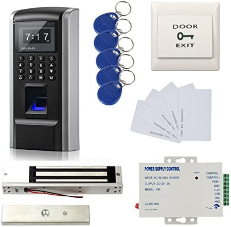 Full Kits Biometric Fingerprint RFID Password Access Control Systems 600lbs Force Electric EM Magnetic Lock 110V Power Supply 10 Cards and Key Fobs