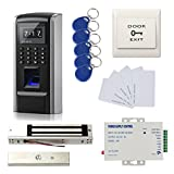 Bio Fingerprint Entry Access Control Systems 600lbs force Electric Magnetic Lock + 110-240V Power Supply + 10 RFID Card+10 RFID Keyfob+ Exit Button
