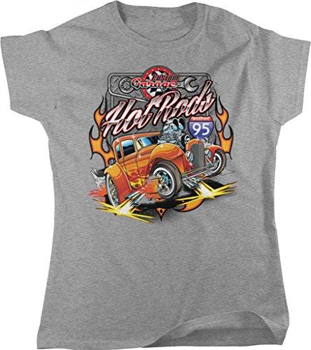 (Hot Rods Custom Garage, Interstate 95 Women's T-shirt, NOFO Clothing Co. M LtGray)