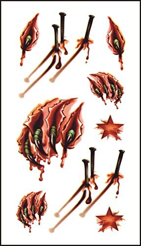 50+ Halloween Temporary Tattoos Sticker, Magnolora 50 Sheet Waterproof Horror Fake Bloody Wound Stitch Scar Scab Body Art Removable Tattoos Sticker for Parties, Masquerade, Cos Play, Prank by Magnolora (Image #3)