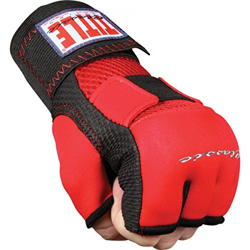 TITLE Classic Gel-X Glove Wraps, Red/Black, Youth