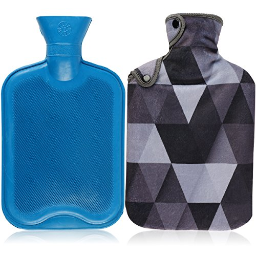 Lattice Bottle - AUPET Hot Water Bottle & Cover Set, 2 Liters Premium Classic Rubber Hot Water Bottle with Super Luxurious Cozy Soft Flannel Cover Set, Great For Pain Relief, Hot and Cold Therapy (Cool Gray Lattices)