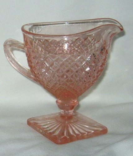 Vintage 1930's Miss America By Hocking Glass Pink Footed Creamer Depression Glass