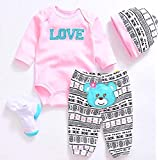 """Pedolltree Reborn Baby Dolls Clothes Pink Outfits for 20""""- 22"""" Reborn Doll Girl Baby Clothing Baby Sets"""
