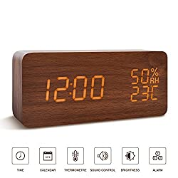 BlaCOG Alarm Clock Digital Desk Wooden Alarm Clock Upgraded with Time Temperature, Adjustable Brightness, 3 Set of Alarm and Voice Control - Brown