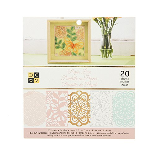 American Crafts DCWV 6'' x 6'' Paper Lace Cardstock Stack - 4 Assorted Designs, Scrapbooking Essential - 20 Sheets by American Crafts