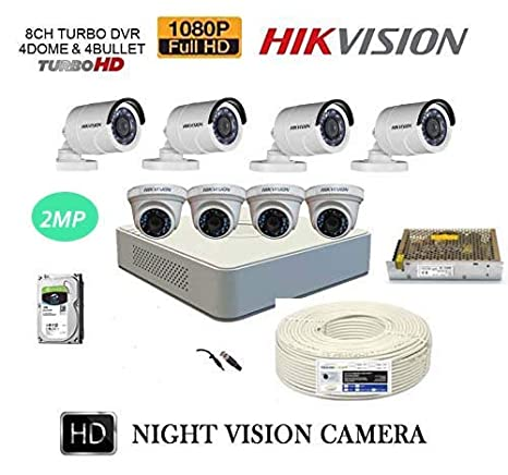 Hikvision Full HD 8 2MP Bullet Cameras, 8CH DVR, 1TB Hard Drive  Surveillance, Copper Wire Roll, Power Supply and All Required Connectors  Combo