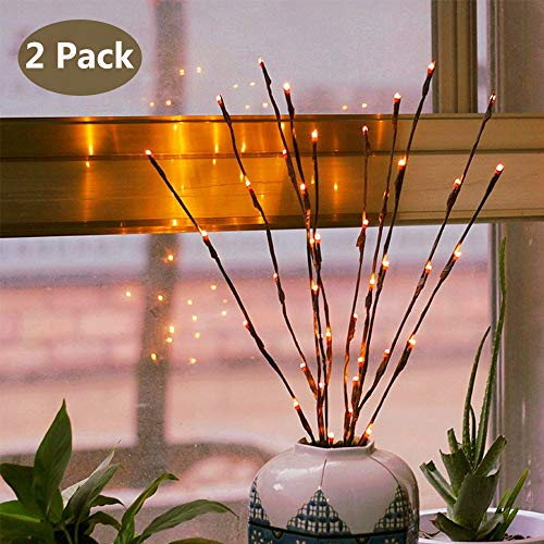 Branch Lights - Led Branches Battery Powered Decorative Lights Willow Twig Lighted Branch for Home Decoration - 20 Inches 20 LED Lights Warm White (Vase Not Included) (Led Flower Arrangements Lit)