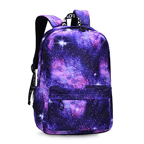 WGRACE Student Backpack, Galaxy Pattern School Bookbag Laptop Portable Junior High School Student High School Printed Durable Lightweight Waterproof,Nylon,Purple (Best Laptop For Junior High Student)